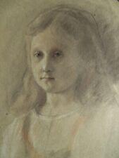 Portrait de jeune fille - Dessin original ancien au fusain et pastel