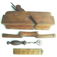 Antique twin-blade MOULDING PLANE + wood SPOKESHAVE + CRIMPER woodworking tools