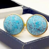 Vintage 1950s Turquoise Blue Marble Glass - Large Round Goldtone Cufflinks
