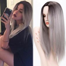 Synthetic Long Straight Hair Ombre Gray Wig Middle Part Natural Wigs for Women