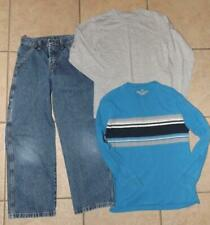 Boys Large 10 / 12 School or Play Blue Jeans & Long Sleeve Tee Shirts 3 PCc Lot