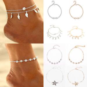 HOT Fashion Ankle Bracelet Women Silver Anklet Foot Jewelry Leaf Chain Beachwear