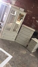 HANDMADE DEWSBURY 3 PIECE DOUBLE MIRRORED BEDROOM SET IN IVORY CREAM (ASSEMBLED)