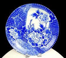 "ASIAN ANTIQUE POTTERY BLUE WHITE CRYSANTHEMUM BIRD BUTTERFLY 11 3/5"" PLATTER"