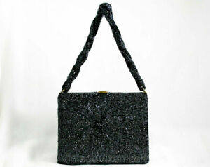 40s Beaded Box Bag - Daisy Motif Formal Purse - Midnight Silver Gray Glass Beads