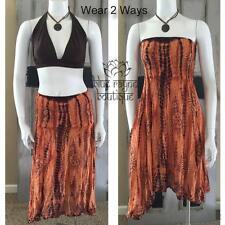 Rayon Cotton Blend Fair Trade Om Prayer Skirt Convertible Dress - Orange / Brown