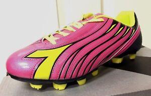 NIB Diadora Womens Solano Soccer Cleat Shoes, Magenta/Yellow, 7.5 M US NEW $59