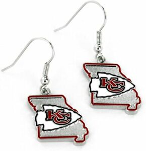 Kansas City Chiefs State Design NFL Silver Dangle Earrings Hypo-Allergenic