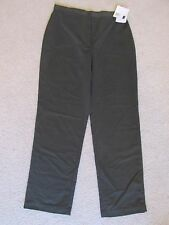 New Women's Liz Claiborne LizSport Microfiber Dark Green Khaki Pants Size 14
