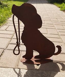 Edelrost Hund mit Leine Metall Garten Rost Tierfigur Geschenk 30cm Deko Haustier