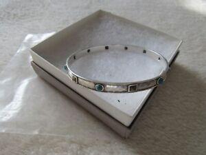 "SILPADA ""Studded "" Turquoise & Pyrite Sterling Silver 925 Bangle Bracelet NIB"