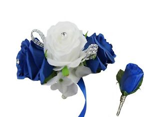 2pc set-Keepsake artificial rose corsage and Boutonnier-horizon royal blue white