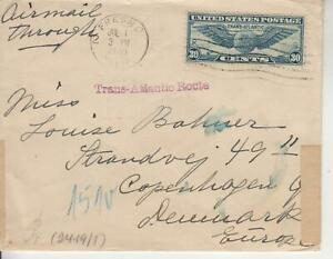 TRANSATLANTIC ROUTE FRSNO,CA. JUL 1 1940 TO DENMARK C24 DUAL GERMAN CENSORS BACK