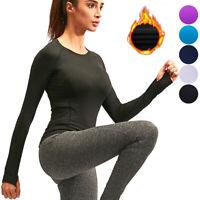 Women's Fleece Base Layer Fitness Yoga Gym Shirt Basic Thermal Long Sleeves Top