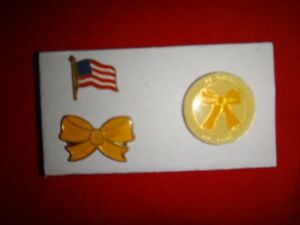 3 Lapel Pins: USA Flag + Yellow Ribbon + WE SUPPORT OUR TROOPS Desert Storm