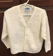 Nick Nack Patty Wack Toddler's 3T White Cable Knit Cardigan Sweater Cotton Blend
