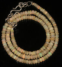 """45 Carat Natural Ethiopian Welo Fire Opal Genuine Necklace 3 to 4.5 mm 16"""" Bead"""
