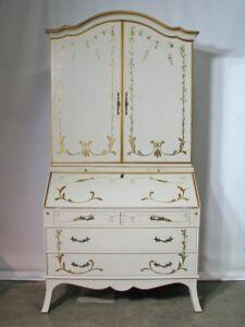 High End Custom Julia Grey, Ltd. Slant Front Secretary/Bookcase; Cream & Gilt
