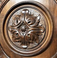 Pair gothic rosette panel Antique french wooden plaque sign salvaged paneling
