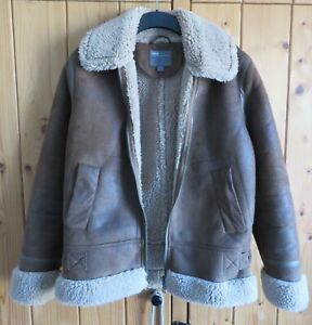 ASOS Tan Fur Lined Faux Suede Zip Up Jacket Size XS (34/36) - Used