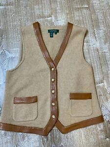 VTG Lauren Ralph Lauren Wool Cashmere Leather Trim Vest Women Large Camel Beige