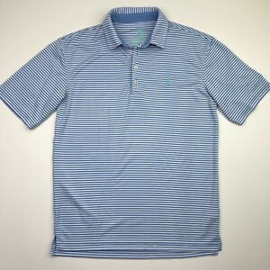 Johnnie O Men's Prep-formance Blue Stripe Polo Shirt Size Small