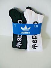 Adidas Mens 6 pack crew socks shoe size 6-12 white/black/grey heather