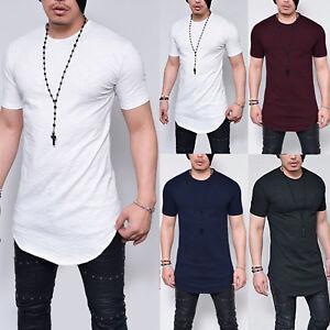 Herren T-Shirt Extra Lang Longshirt Slim Oberteile Sommer Bluse Hemd Übergröße