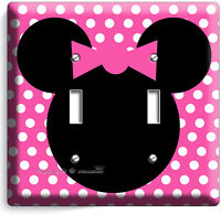 MINNIE MOUSE PINK POLKA DOT DOUBLE LIGHT SWITCH WALL PLATE COVER GIRLS BEDROOM A
