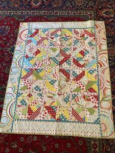 """COLORFUL Vintage Handmade Quilt 39"""" By 50"""" Polka Dots Swirls"""