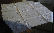 weiß Tischtuch Tischdecke Stil Richilieu 90x90 Mitteldecke quadratisch (nr15)/33