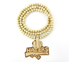 WOODEN HATERS MIDDLE FINGER PENDANT PIECE & CHAIN BEAD NECKLACE GOOD WOOD STYLE