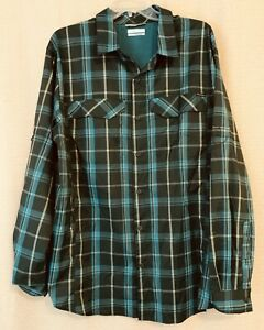 Columbia Omni-Shade Button Front Hiking SHIRT, Men's Large Poly Green Plaid LS