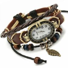 Top Vintage Weave Fashion Design Charm Watch Bracelet Faux Leather Quartz