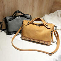 Women's PU Leather Frosted Rivet Handbag Cross Body Bag Shoulder Bag Organizer