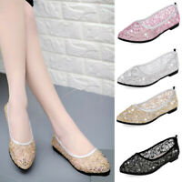 US Womens Summer Single Boat Shoes Mesh Sequins Breathable Hollow Flat Sandals