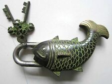 Chinese bronze ancient lock golden fish shape with meaning auspicious better  NR