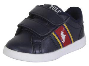 Polo Ralph Lauren Toddler Boy's Quigley-EZ Navy/Red/Yellow Sneakers Shoes