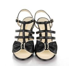 NIB CHANEL Black leather pearl Bow sandals