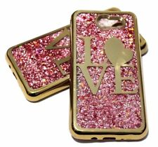 For Samsung Galaxy J7 V/Sky Pro/Prime 2017 - GOLD LOVE Glitter Stars Liquid Case