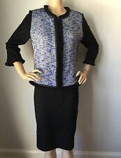 St John Knit Sz 4 Skirt Suit Jacket Black Imperial Blue Tweed Boucle Wool