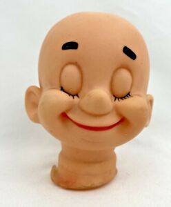 """Vintage Doll Head Happy, Smiling with Eyes Closed- 4"""" Seven Dwarves?"""