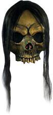 GOLDEN SKULL LATEX MASK WITH HAIR Halloween Skeleton Skull Costume Mask 26161