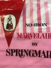 VINTAGE SPRINGMAID MARVELAIRE PINK & WHITE STRIPE QUEEN FLAT SHEET 60 X 80 In