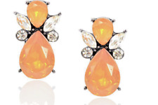 BNWOT ANTHROPOLOGIE WARM OPAL ORANGE CRYSTAL BIJOU CREW SHOUROUK EARRINGS