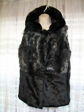 NEW LANGBAO BLACK LUXURY FUR HOODED VEST JACKET~QUILTED SATIN~BUCKLE FRONT~M/L~