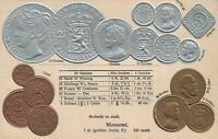 VINTAGE NETHERLANDS EMBOSSED COPPER SILVER & GOLD COINS POSTCARD - Walter Erhard