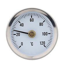 HOT WATER PIPE THERMOMETER 0-120°C 63MM DIAL BIMETAL TEMPERATURE GAUGE IN-022