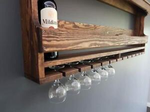 Wooden Vintage Shabby Wall Wine Rack Bar Accessories Champagne Wine Glass 120cm