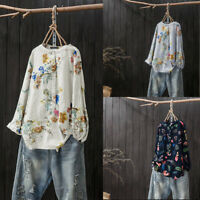 Women Long Sleeve Shirt Tops Round Neck Loose Ethnic Blouse Tops Plus Size Tops